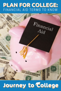 Piggy Bank with a graduation cap saying Financial aid