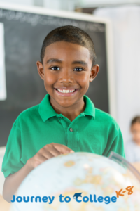 Smiling child with Journey to College K-8 logo in the foreground
